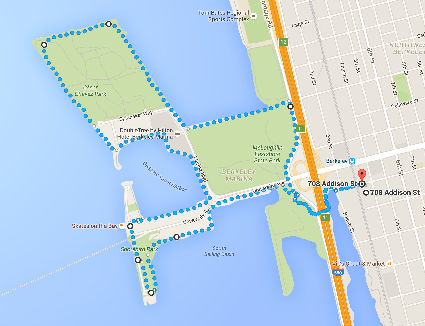 a nice running route through the berkeley marina and cesar chavez park